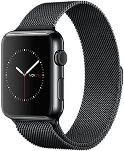 linglu 苹果手表腕带,独特磁扣锁,无搭扣需要,42MM 网环米兰 Loop 不锈钢手链表带带适用于 Apple Watch 42MM 所有型号–黑色
