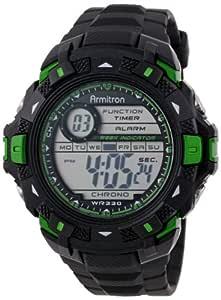 Armitron Sport Men's 40/8297GRN Metallic Green Accented Black Resin Strap Chronograph Digital Watch
