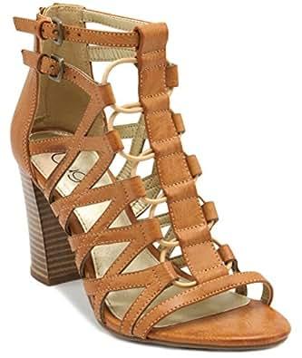 Sugar 女式 Estes 绑带时尚高跟凉鞋,带扣和弹性松紧带中底 天然 10 M US