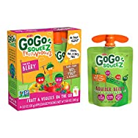 GoGo SqueeZ Fruit & VeggieZ on the Go, Apple Carrot Mixed Berry , 3.2 Ounce Portable BPA-Free Pouches, Gluten-Free, 48 Total Pouches (12 Boxes with 4 Pouches Each)