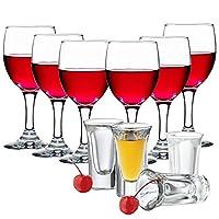 Libbey利比 红酒杯237ml*6支+白酒杯22ml*4支 适用家庭聚会 葡萄酒 香槟 白酒 红酒(亚马逊自营商品, 由供应商配送)