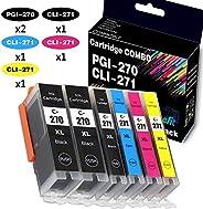 (6件裝,2個PGBK+1個黑色+1個青色+1個品紅+1個黃色)4Benefit 兼容PGI270 XL CLI271 XL PGI-270XL CLI-271XL 墨盒用于PIXMA MG5720 MG5722 TS5