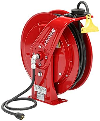 Reelcraft L 70075 123 9 弹簧可伸缩线卷轴,12 AWG/3 导线 x 75 英尺,15 安培,三点龙头插座,含电源线