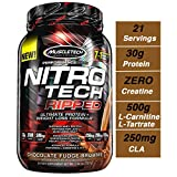 Muscletech 肌肉科技 Nitro Tech Ripped 超洁净乳清蛋白分离粉+减重配方,低糖,低碳水化合物,巧克力软糖布朗尼口味,2磅/907克