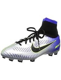 Nike Unisex Kids' Jr Mercurial Vctry 6 Df Njr Fg Footbal Shoes, Blue (Racer Blue Black Chrome Volt 407), 3.5 UK