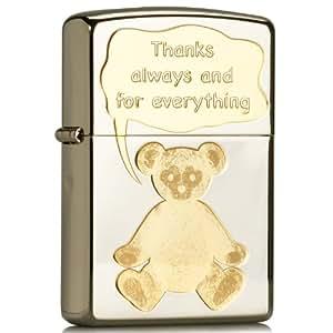 Zippo 之宝 打火机 SC2080 泰迪熊的感谢 镀铬蚀刻 黄色