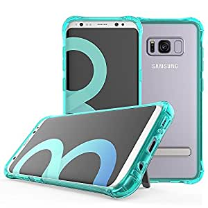 Galaxy S8 Plus 支架手机壳,Tiamat [TPU 硬质塑料] [防滑] [防摔] 三星 Galaxy S8 Plus 立式手机壳 绿色透明