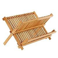 SONGMICS * 竹餐具晾干架,18 槽可折叠 2 层碗碟杯架,折叠用餐具排水器,容纳 18 盘3-6 杯厨房餐厅 UKAB901