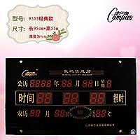 康巴丝Compas康巴丝led万年历超大数字挂钟静音简约客厅卧室电子钟表其他经典款95x55厘米
