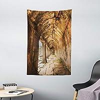 Ambesonne 复古挂毯,带有墙壁的 Angkor Thom in SiEM Reap 墙壁悬挂卧室客厅宿舍装饰,101.6 厘米 X 152.4 厘米,米色