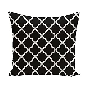 E By Design Marrakech Express Geometric Print Pillow, 16-Inch Length, Raven
