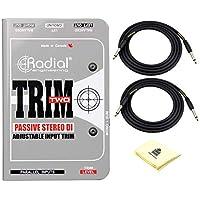 径向修剪两个 2 通道被动立体声直盒 DI 带水平控制,单声道合并和 1/4 英寸 RCA 和 1/8 英寸 TRS 输入连接器捆绑带 2 根传感器仪电缆 18.6 英尺和 Zorro 声音布