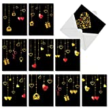 M5653VDG-B1x10 Box Set of 10 'Hanging Hearts' Valentine's Day Card With Beautifully Printed Illustrations Designed to Look Like Shining Golden Pendants (Not Foil), with Envelopes