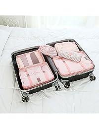 喜禾 Hiho 新款高档防水旅行收纳袋 行李箱衣物整理袋 收纳套装六件套 LX-032 (条纹粉)
