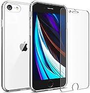 FlexGear iPhone 7 8 手机壳,FlexGear 360 超薄透明硬质 PC 背面 TPU 缓冲垫 + 玻璃屏幕保护膜 透明