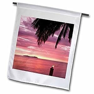 danita delimont–FIJI–海滩日落,提基 TORCH , beqa ISLAND , FIJI–oc01mwt0058–michele westmorland–旗帜 12 x 18 inch Garden Flag