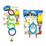 JW。 Pet Company 鸟类玩具套装包括奥林匹克环和花式镜子套装,适用于鹦鹉、鸡尾*会和类似大小的鸟