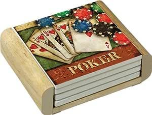 CounterArt Absorbent Coasters in Wooden Holder, Poker Design, Set of 4