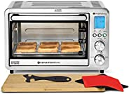 ConvectionWorks 紧凑智能对流烤箱套装(6 层)带竹切板和硅胶机架手柄(10 个配件,含烤锅和面部),1500 瓦,不锈钢,不锈钢,无氟龙