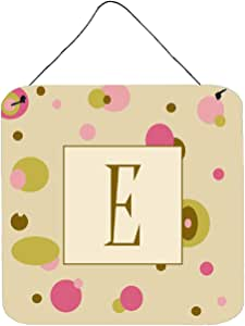 "Caroline's Treasures Letter E Initial with Monogram-Tan Dots Wall or Door Hanging Prints, 6 x 6"", Multicolor"