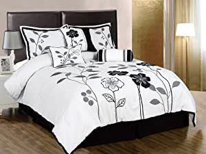 Chezmoi Collection 7-Piece White, Grey, and Black Lily with Leaf Applique Comforter 104-Inch by 92-Inch Set, Bed-in-a-bag Cal King Size Bedding