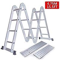 Keraiz 14 合 1 (15.5 英尺) 4.7m 折叠多梯,配有 2 个小型工作盘和 1 个工具托盘,符合 EN131 * 1 部分和 2 项规格 银色 STL-274-4.7M-PLATFORM