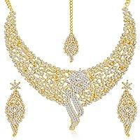 Sukkhi Golden Gold Plated Ad Stone Choker Necklace With Drop Earrring & Mangtikka Set For Women