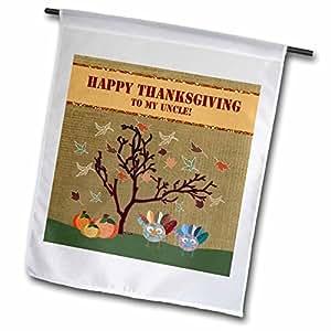 BEVERLY TURNER 感恩节图案–火鸡、树叶和南瓜, HAPPY thanksgiving TO Uncle–旗帜 12 x 18 inch Garden Flag