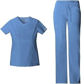 Cherokee 工作服核心弹力女式*服套装 - 24703 V 领上衣和 24001 低腰抽绳工装裤