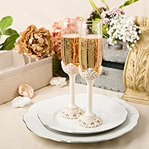 Fashioncraft Baroque Design Antique Ivory Set Of Toasting Flutes, Ivory