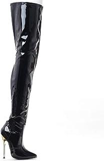 JiaLuoWei 女士过膝大腿靴,钢细高跟靴,5.5 英寸高跟鞋加大码