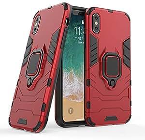 青铜触碰 iPhone XR 环形支架防震手机壳,兼容磁性车载支架手机壳 红色