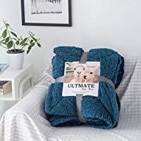 婉寇 简约纯色羊羔绒毛毯 法兰绒盖毯单人双人办公室小盖毯毛巾毯OB (午夜蓝, 双人款200*230cm-4.6斤)