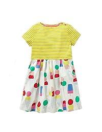 Meeyou 女童短袖连衣裙,女童棉质连衣裙,儿童休闲连衣裙 黄色 5 43225-4414