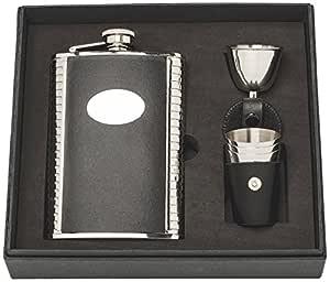 Herbertz 男士手提包瓶礼物套装带3个杯子和灌装瓶,扁*,银色,237ml