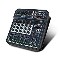 XTUGA T4/T6 专业 DJ 混音器 4/6 声道便携式多功能音频混音器 内置 16 DSP 效果 声卡 蓝牙 USB 48V 幻象电源 适用于电脑录音 唱歌 网络直播T6 DJ Mixer T6