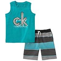 Calvin Klein 婴儿男孩2件无袖上衣短裤套装