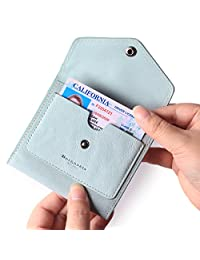 女式小皮革钱包,RFID 屏蔽女士信用卡包迷你双折口袋钱包