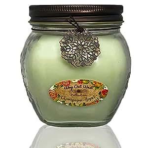 Way Out West 薰衣草香味蜡烛(17 盎司)舒缓压力,自然薰衣草香味,持久耐用 - 大豆蜡混合 - Spa 品质(长春花) Apple (Light Green) Large Jar