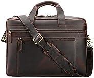 Tiding 男士皮革公文包邮差包 43.18 厘米复古笔记本电脑包 便携包 单肩包 商务旅行 - 深棕色