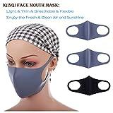 iQinQi 防尘面具可洗和可重复使用的清洁口罩,3 件男女通用口罩,跑步、骑自行车、户外活动 灰色