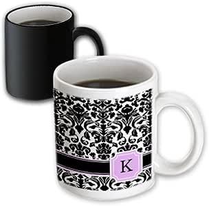 mug_154386 InspirationzStore Monograms - Personal initial K monogrammed pink black and white damask pattern girly stylish personalized letter - Mugs 白色 11-oz Magic Transforming Mug