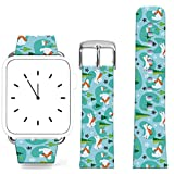 Iwatch Band for Women Series 1 Series 2 Series 3,Apple Watch Strap Genuine Leather Replacement 38Mm Kawaii Polar Bear Small Trees
