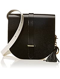The Cambridge Satchel Company 女式 流苏工具皮包 SDTNA0107BBH10101 褐色&带黑色流苏的土褐色主体 19*6*18cm (亚马逊进口直采, 英国品牌)