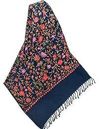皇家蓝印度羊毛披肩刺绣粉色花朵和绿色葡萄紫羊绒 Ari