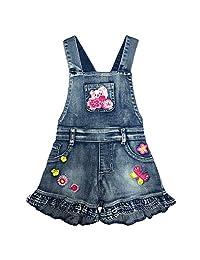 2-7T Little&Big Kids 女孩连体衣和连体裤 背带裤 猫吊带短裤 牛仔裤裤