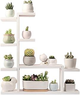 Echaprey 木质植物架 4 层桌面植物架 小型多层植物架 木制室内户外多肉植物盆装饰(白色)