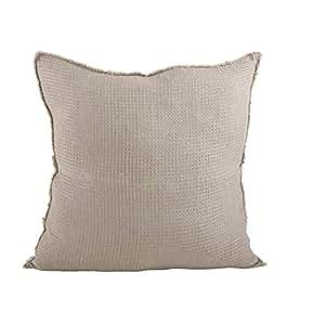 "SARO LIFESTYLE L'Excellence 华夫格编织设计羽绒亚麻抱枕,50.80cm 天然 20 ""英寸 10036.N20S"