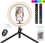 (2020 新款) 10.2'' RGB LED环形灯带三脚架,15 RGB 颜色和 3 种普通颜色,10 种亮度级别,自拍灯带手机支架,Tiktok台灯,实