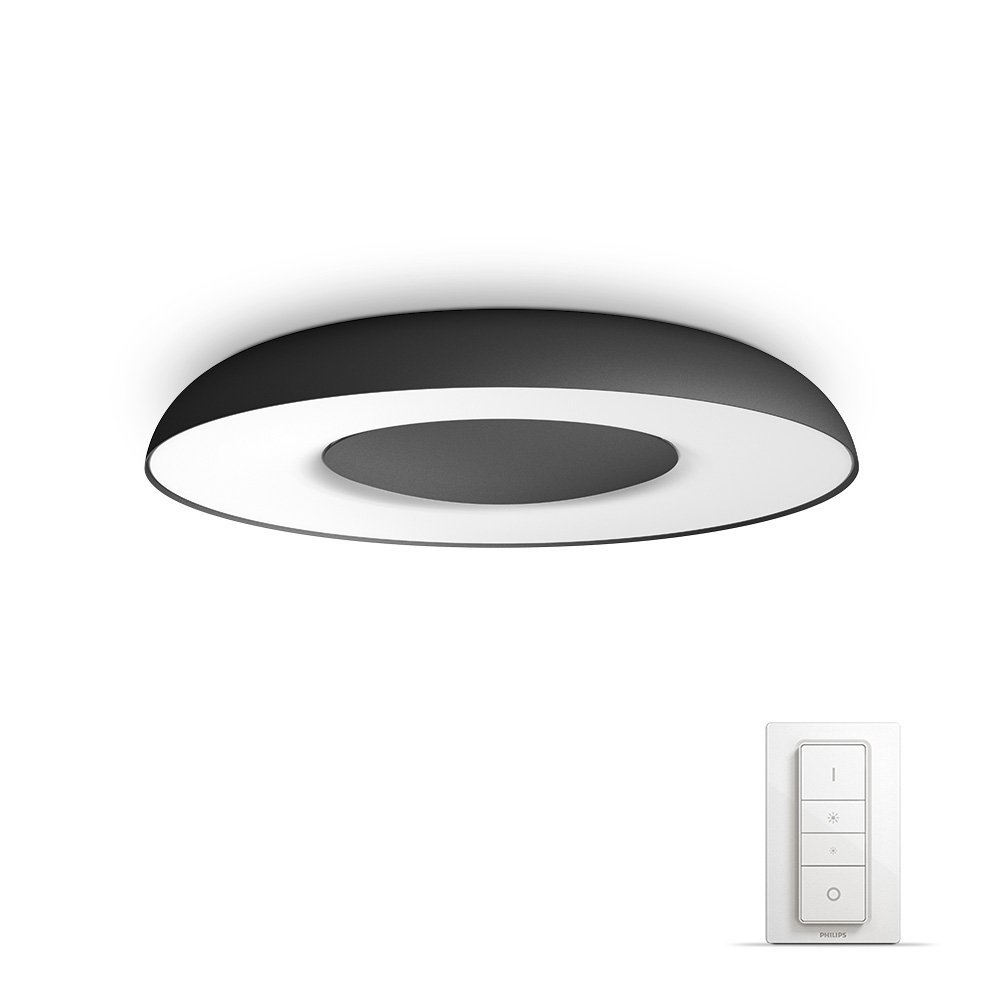 Philips Hue LED 顶灯 Fair 包括调光开关,可调光,所有白色色调,可通过 App 调节,黑色,与 Amazon Alexa 兼容 (Echo, Echo Dot)